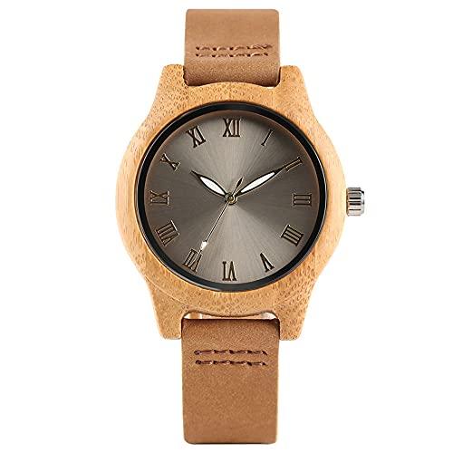 RWJFH Reloj de Madera Reloj de bambú de Moda, Reloj de Pulsera de Cuarzo para Mujer, Pulsera de Cuero, Reloj Informal de Madera para Mujer Natural, Relojes Femeninos