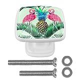 Perillas de gabinete de 4 piezas Perillas de tocador Perillas de cajón de cocinaFruta de la hoja de palma de flamenco rosa Mango de cristal