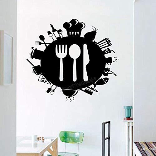 Zdklfm69 Wall Decals Wall Sticker Kitchen Art Kitchen Decor Knife Fork Spoon for Dining Room Kitchen Wall Decor Vinyl Kitchen Decal 76x67cm