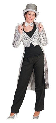Pailletten Frack für Damen Silber Gr. 40 42 zum Show Kostüm für Karneval Faschingoder Mottoparty