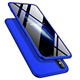 iPhone XS Max 6.5'' Case 360 Slim Shockproof Full Body Coverage Hard Protective Case + Tempered Glass Screen Protector (Blue, iPhone XS Max 6.5'')