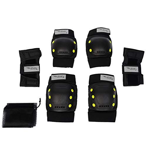Flybar Knee and Elbow Pads, Wrist Guards Protective Safety Gear Set - Multi Sport Protection for Skateboarding, BMX, Pogoing, Inline Skating, Scooter - Kids, Teen & Adult Sizes (Yellow, Medium)