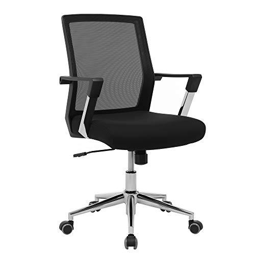 SONGMICS Bürostuhl mit Netzrückenlehne Chefsessel Bürodrehstuhl Drehstuhl höhenverstellbar Wippfunktion, schwarz, OBN83B