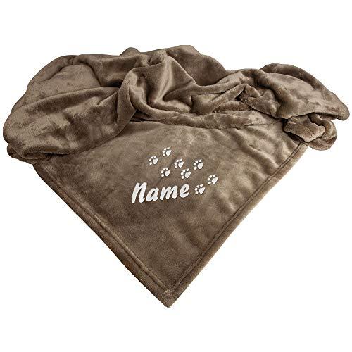 Schecker Mikrofaserdecke Hellbraun Pfotenspur mit Name Premium 1Stück 150 cm x 95 cm Bestickt mit dem Namen Ihres Hundes verschiedende Motive auswählbar