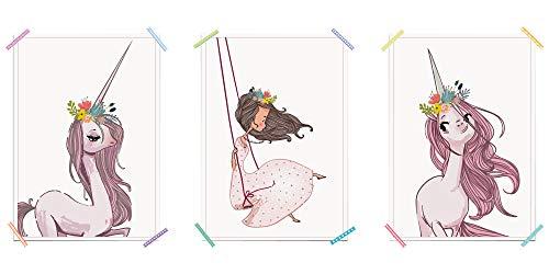 myprinti 3er Set Kinderzimmer Poster Babyzimmer Bilder | Mädchen Baby | Wanddeko Bildergalerie Deko...