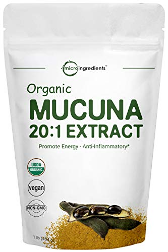 Maximum Strength Organic Mucuna Pruriens Extract 20:1 Powder (Contains Natural L Dopa),1 Pound, Pure Mucuna Supplement, Promote Mood, Brain Health and Boosts Immune System, Energy, Vegan Friendly
