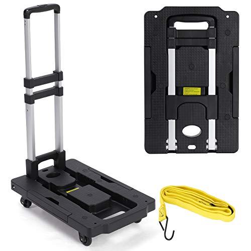 Carrito de equipaje plegable y ligero, resistente, 75 kg, con 4 ruedas...