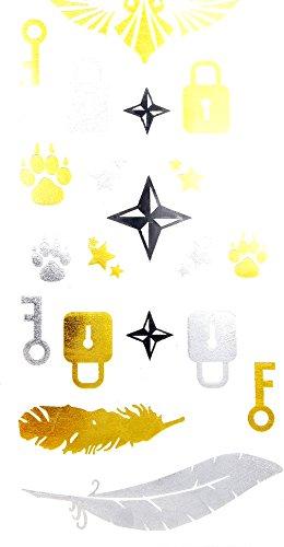 Oh My Shop - GHM02 - Planche Tattoo Tatouage Ephémère Temporaire Métallique Body Art Assortiment - Argent/Or