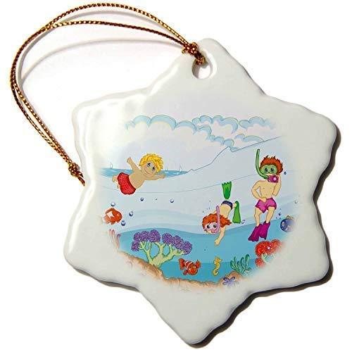Mesllings Leuke Kids Zomer Vakantie Plezier Snorkelen in De Oceaan Zomer Natuur Ontwerp - Sneeuwvlok Ornament 3 inch Keramisch Decoratief Hangend Ornament
