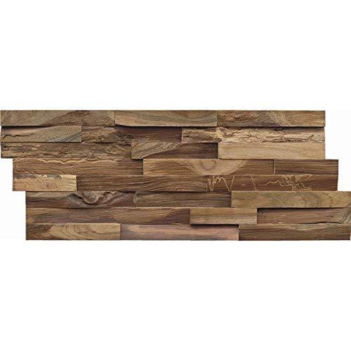 Holz Wandverkleidung mit 3d Paneelen aus verwittertem, recyceltem Holz von Nordje® (Elvar | Teak) - 4