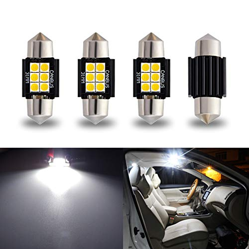 """iBrightstar Newest 9-30V Extremely Bright DE3175 DE3021 Festoon Error Free 1.25"""" 31mm LED for Interior Map Dome Lights and License Plate Courtesy Lights, Xenon White"""