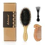 Haarbürste Achort Wildschweinborsten Haarbürste mit Nylonstiften, Professionelle Bambus Paddel Bürste zur Haarentwirrung und Detangling, Verbesserung der Haartextur