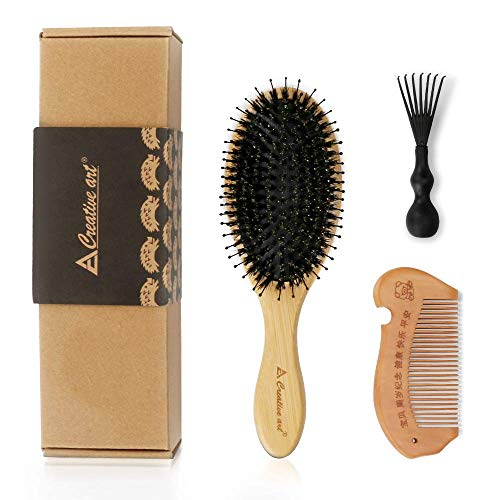 Achort Cepillo de pelo de cerdas de jabalí y peine para mujeres, cepillo de pelo de paleta de madera natural con limpiador de rastrillo de peine y cepillo de madera