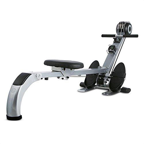 Capital Sports Stringmaster - Machine Aviron de Musculation et Entrainement Fitness, Rameur d'appartement Pliable, Charge Max de 100kg, Ordinateur de Bord, Métal Robuste, Gris