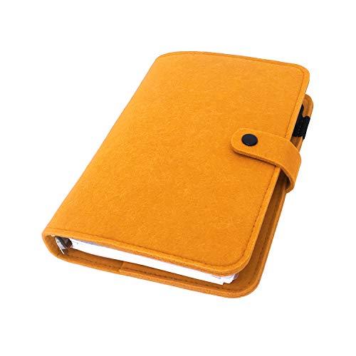 手帳 バインダー紐 システム カバー6穴 フェルト マテリアルシステムハンドブックビジネス学生6リングA5 A6ペンカード入れ, Orange 10, A6 mini set