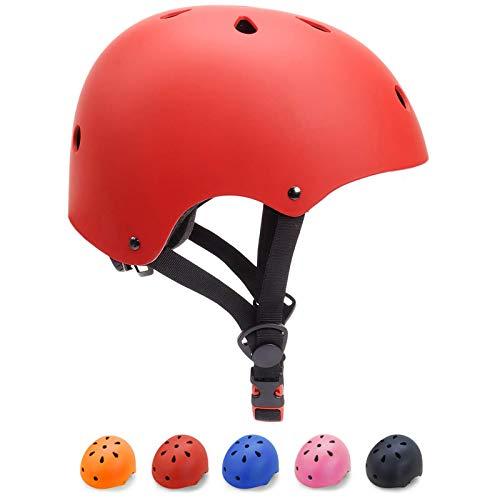 KORIMEFA Casco Bicicleta para Niños Casco Infantil Ajustable para Monopatín Patinaje BMX Esquiar, Casco para multibles Deportes niño niña de Edad de 3-13 años (Rojo, M)