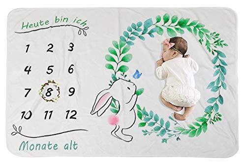 COUXILY Baby Meilenstein Decke Meilensteindecke Baby Monatliche Decke für Neugeborene Baby monatsdecke Milestone Fotografie Requisiten Shoots Hintergrund Tuch Deutsch (Kaninchen : 100 * 150CM)