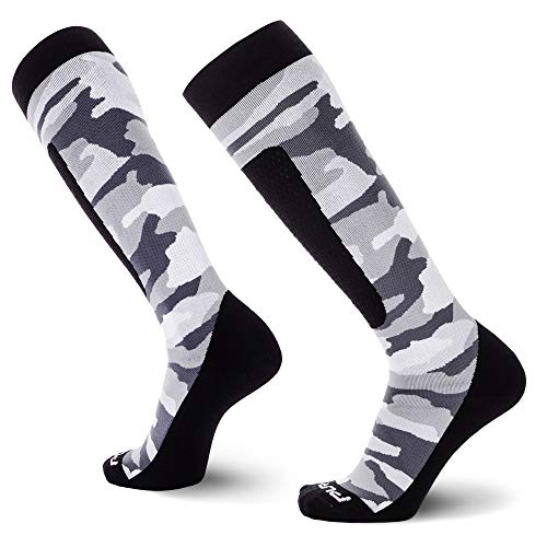 Midweight Camo Snowboard Socks – Merino Wool Winter Cold Weather OTC Ski Sock – Great for Snowboarding, Skiing, Snow Shoeing, Outdoors (L, Snow)