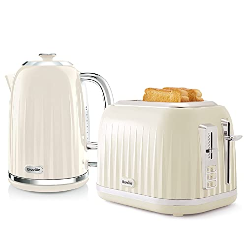 Breville Impressions Kettle & Toaster Set with 2 Slice Toaster & Electric Kettle (3 KW Fast Boil), Cream