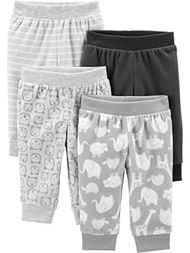 Simple Joys by Carter's 4-Pack Neutral Fleece Infant-and-Toddler-Pants, Tiermuster/grau, 6-9 Monate, 4er-Pack