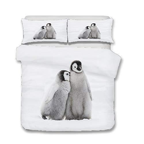 WENYA Animales 3D Pingüino Lindo Blanco Negro Gris Juego de Cama Funda Nórdica y Funda de Almohada...