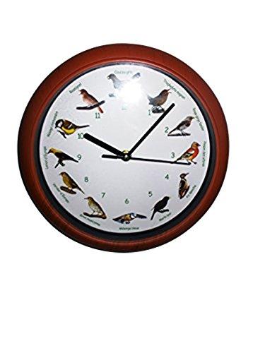 joka international GmbH Vogelstimmen-Wanduhr mit französicher Bezeichnung brauner Rahmen