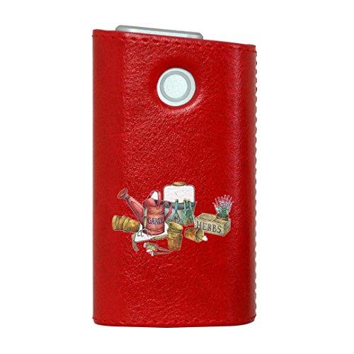 glo グロー グロウ 専用 レザーケース レザーカバー タバコ ケース カバー 合皮 ハードケース カバー 収納 デザイン 革 皮 RED レッド 花 鉢植え フラワー 014392