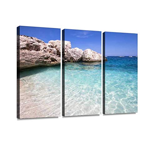 HABEN ARTWORK cala mariolu Beach on The Sardinia Island Italy Moon Bay Print On Canvas Wall Artwork Modern Photography Home Decor Unique Pattern Stretched and Framed 3 Piece