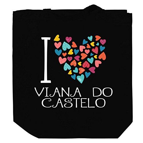 Teeburon I Love Viana Do Castelo Colorful Hearts Bolsa de Lona 10.5' x 16' x 4'