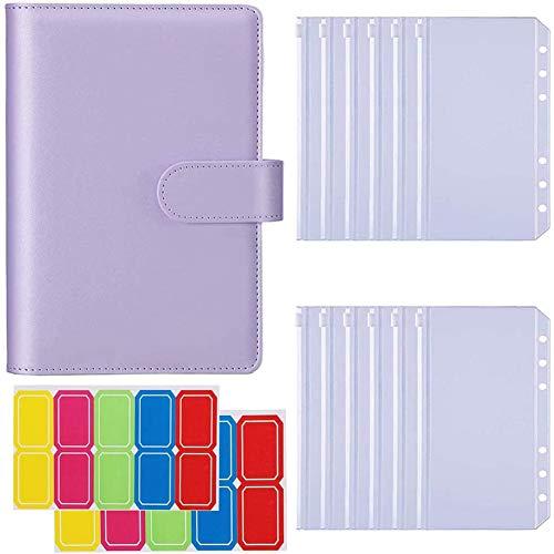 Lenere A6 Notebook Binder mit 12 STüCK A6 Binder Taschen mit Magnet Verschluss für Innen FüLl Papier A.