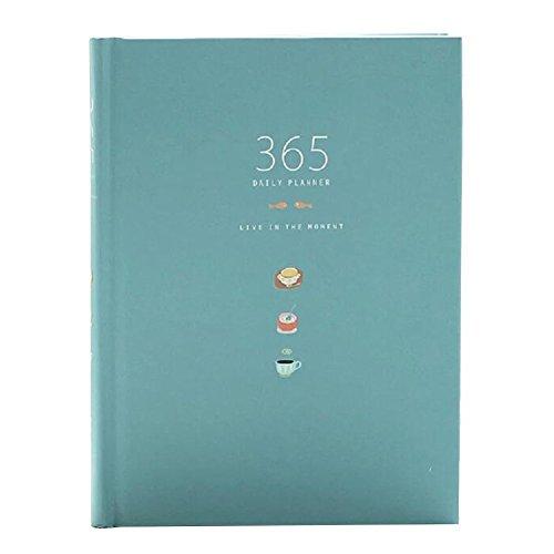 Carino 365 giorni Planner Ricariche Giornaliero Settimanale Mensile Calendario laptop Bound To-Do-List Libro Agenda Organizer di cancelleria della scuola, Blu
