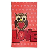 Aieefun Love Owl Pattern Valentine's Day Hand Towels, Soft Towels Decorative for Kitchen Room Hotel Gym Yoga Spa Housewarming Gifts 27.5' X 15.7'