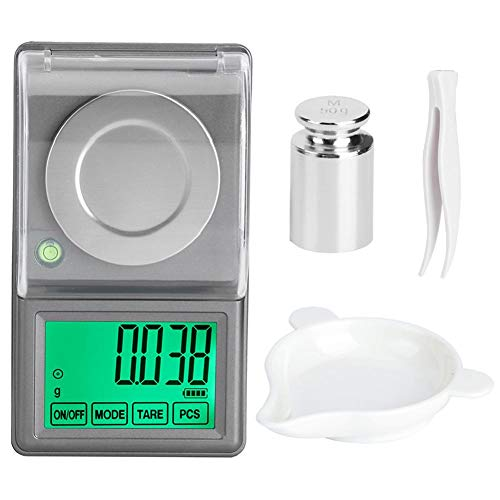 50g/0.001g Peso ligero de alta precisión Mini balanza digital para joyas Pantalla LED Pantalla Portátil Electrónica Escala de miligramos Balanza Pesada Conversión de unidad de conteo de tara
