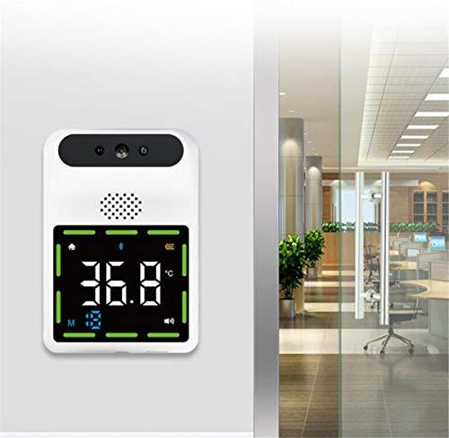 HARTI Termómetro infrarrojo montado en la pared para público, termómetro digital de temperatura frente sin contacto con alarma de fiebre, pantalla LED de lectura precisa, prueba rápida 0.1S