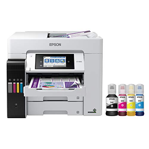 Epson EcoTank Pro ET-5850 Wireless Color All-in-One Supertank Printer with Scanner,...