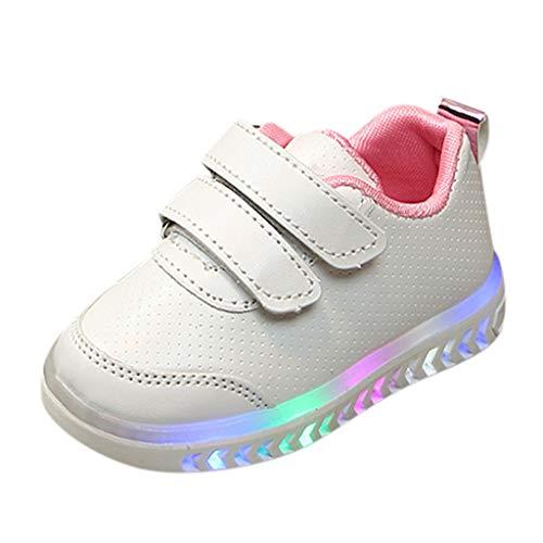 Alwayswin barn pojkar flickor sneakers LED-skor lysande sportskor unisex utomhus sneakers kardborreband fritidsskor bekväma halkfria läderskor löparskor, - ROSA - 23 EU