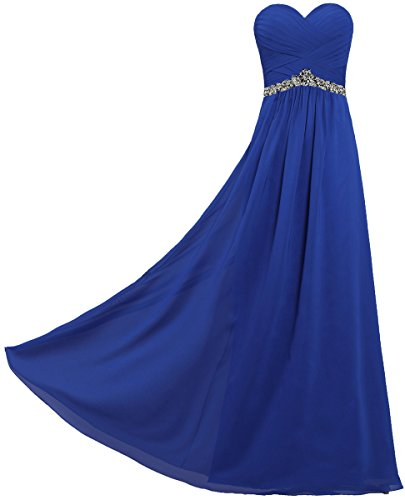 ANTS Women's Strapless Chiffon Long Dresses for Evening Party Size 4 US Royal Blue
