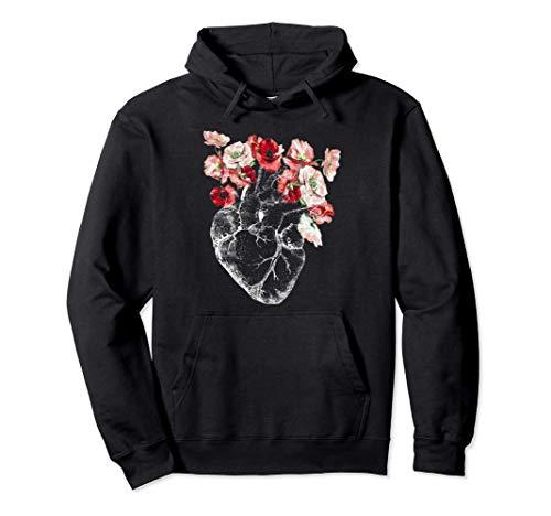 Corazón y flores anatómicas Sudadera con Capucha