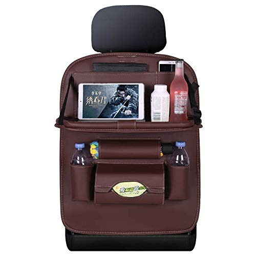 Car Seat Organiser - PU Leather Caddy with Pockets, Folding Table, Tablet and Drink Holders - Storage for Travel Essentials, Accessories and Books - Easy to Clean and Mount – Coffee