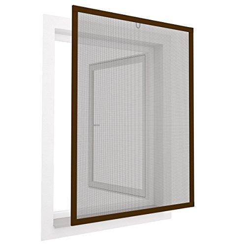 Insektenschutz Fenster Comfort 80x100 cm mit Alurahmen in Braun - Fliegengitter aus Fiberglas - kürzbarer Spannrahmen ohne Bohren & Schrauben mit Dichtungsbürste
