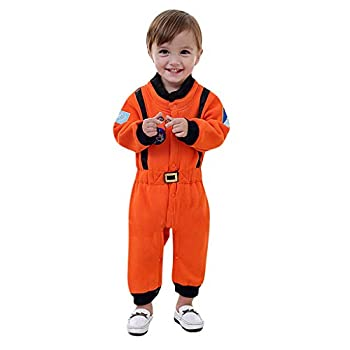 general3 Kids Astronaut Cosplay Spaceman Jumpsuit Flight Costume Dress Up Halloween Costumes Role Play for Boys Girls  Orange,Baby 12-18 Months