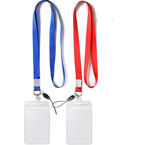 YOUOWO 2 Pack ID Badge Holder with Blue Red Lanyard Strap Neck Strings Lanyard with Vertical Name Tag Card Holders Punched Zipper Waterproof Resealable Clear Plastic