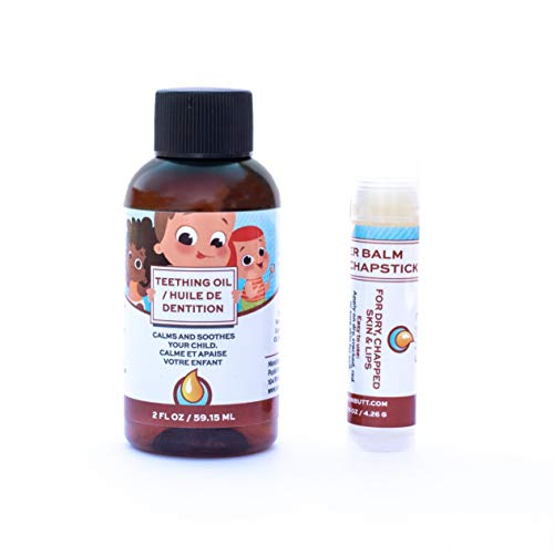 Punkin Butt Baby Teething Oil and Weather Lip Balm Bundle for Sore Gum Relief and Chapped Lips | All Natural, Organic, Safe for Infants, Chemical-Free | 2 Oz Oil