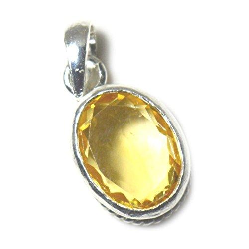 JewelryOnClick Citrin Anhänger 4 Karat natürlicher ovaler Edelstein 925 Sterling Silber