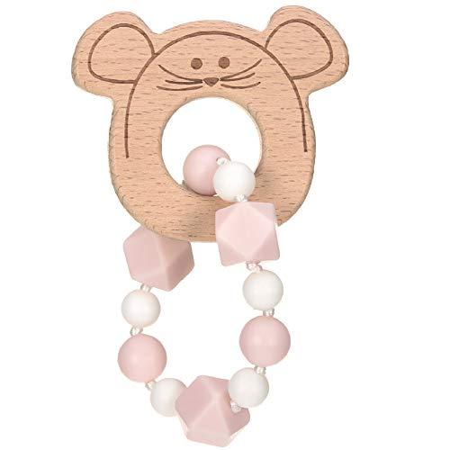 LÄSSIG Baby Greifling Beißring Beißhilfe Holz Silikon schadstoffgeprüft Spielen Anfassen Motorik Zahnen/ Teether Band, Little Chums Mouse, rosa