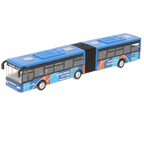 Fenteer Autobus snodato,Bus Giocattolo,City Express Bus, Articolato, Rosso/Blu/Verde - Blu