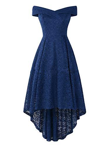JEEYJOO Women Wedding Bridesmaid V Neck Off Shoulder High Low Evening Party Dress Retro Flower Lace Dresses Navy Blue XL