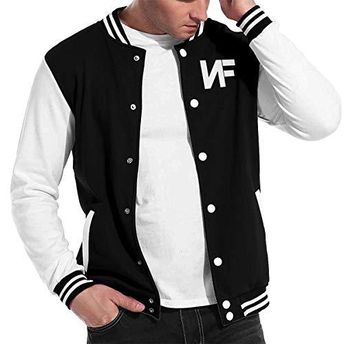 Mens Classic NF Rapper Logo Baseball Jacket Uniform Long Sleeve Sport Sweatshirt Varsity Jacket Sweater Coat Black 4XL