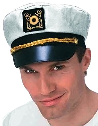 Forum Novelties 21176 Nautical Cap Boater Forum Yachtsman's, nautische Kappe, schwarz/weiß, Einheitsgröße