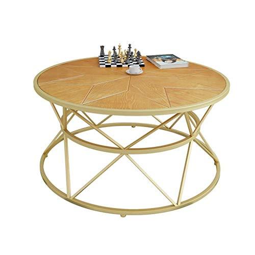Escritorio de oficina en casa Forjado de hierro de madera mesa redonda de café, el panel de pera amarillo, marco de hierro forjado, forma geométrica, estilo industrial, Nordic salón Tablas mesa auxili